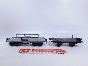 CP843-1# 2x Märklin Spur 0 Blech-Flachwagen/Güterwagen, verändert/ 2. Wahl