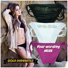 GOLD PERSONALISED BIKINI SET DIAMANTES  ANY WORDING NAME BRIDE TO BE JUSTMARRIED
