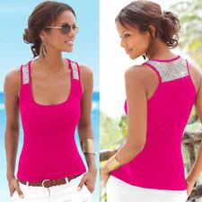UK Womens Sleeveless Sequin Vest Tops Summer Ladies Casual Blouse T Shirt 6 - 18
