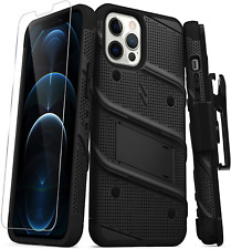 Zizo Bolt Series for iPhone 12 Pro Max Case with Screen Protector Kickstand Hols