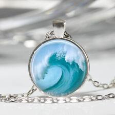New Charm Vintage Cabochon Glass necklace Silver surfing pendants(tsunami