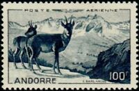 """ANDORRE FRANCAIS STAMP TIMBRE AERIEN N°1 """" PAYSAGE, ISARDS 100F """" NEUF x TB"""
