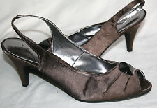 BHS (UK5 / EU38) BROWN SLINGBACK FABRIC COVERED GEMSTONE FRONT SANDALS - NEW