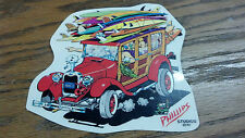 vintage woody wagon surfing surfboard sticker decal jimbo phillips ford skate
