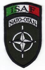 [Patch] ISAF NATO OTAN cm 5x8,5 su verde toppa ricamata ricamo termoadesiva -057