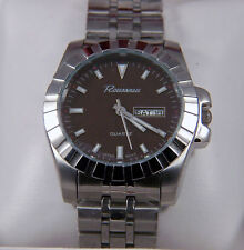 NEW IN BOX ROUSSEAU MENS STAINLESS STEEL BRACELET WATCH WITH A DARK BROWN DIAL