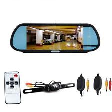 "7"" LCD Screen Car Rear View Backup Mirror Monitor+Wireless Reverse IR Camera MT"