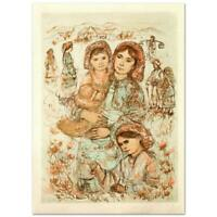 """Edna Hibel """"Family In The Field (2)"""" Hand Signed Limited Edition Lithograph Art"""