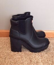 New Women's Hunter Heeled Ankle Rain Boot Bootie Black 7