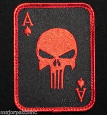 PUNISHER ACE OF SPADES DEATH CARD USA TACTICAL BLACK OPS RED HOOK MORALE PATCH