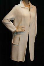 S Off White Knit Vtg 60s OPEN LONG Sweater Zado of California Long Cardigan Coat