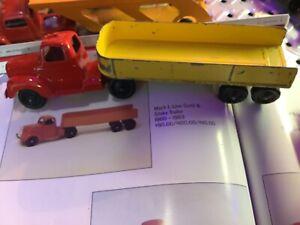 1960 Tootsie Toy Mack L-Line Semi & Stake Trailer