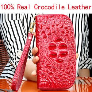 Luxury Real Crocodile Alligator Skin Leather Women's Handbag Clutch Purse Wallet
