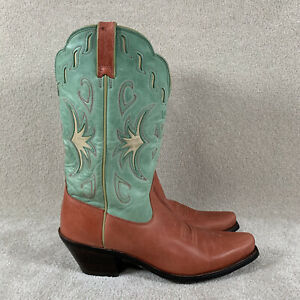 "Ariat Women's 10 B Leather Cowgirl Boots Brown & Teal ""Manzanita"" ATS"