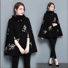 Womens Cape Embroidery Coat Cloak Hooded Loose Fit Casual Outwear Warm Retro X30