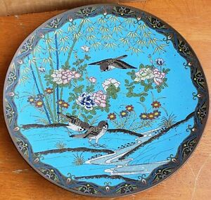 Antique Japanese Cloisonne Platter Charger 12 Inch Birds Flowers