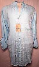 CARIBBEAN NWT LT Linen Blend Blue Open Mandarin Collar Shirt Roll Up Sleeves