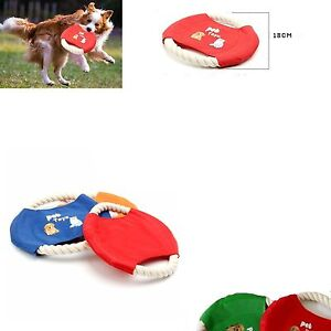 Pet Dog Puppy Cat Cotton And Nylon Frisbee Throw Rope Flying Disc Games x 1