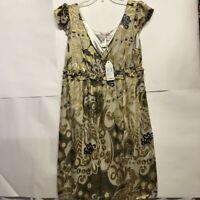 M.S.S.P Womens Dress Green Gold Black Metallic Floral Ruffle Cap Sleeves L New