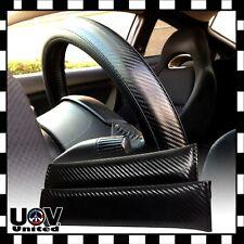Blk Carbon Fiber Leather Slip-On Steering Wheel Seat Belt Pad Cover Protector 12