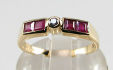 9K 9CT GOLD RUBY DIAMOND CHANNEL SET ART DECO INS ETERNITY BAND RING FREE RESIZE