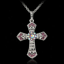 Nuevo Silver Jewelry CROSS Crystal Pendant Sweater Chain Necklace Women S&K