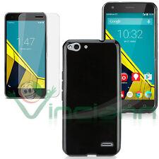 Película vidrio+Funda PERFECTO AJUSTE Negra para Vodafone Smart ultra 6 cubierta