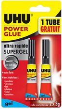 UHU Colle instantanée POWER GLUE ultra rapide SUPERGEL, 3 g, 1 tube + 1 gratuit