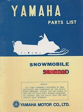 1973 YAMAHA SNOWMOBILE  TL 433 F   PARTS MANUAL (957)