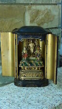 ANTIQUE 19c JAPANESE GILT LACQUERED ZUSHI SHRINE CARVED FIGURES &STANDING DEITY