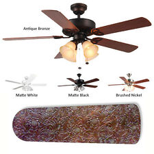 Concepts 4-Lamp 'Brown Leather' Ceiling Fan Matte Black
