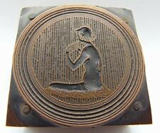 Printing Letterpress Printers Block Woman Sitting With Something In Hand