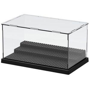 Lego 3 Steps Minifigure Display Case Dustproof ShowCase Black Base!