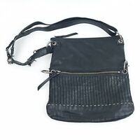 THE SAK Womens Black Leather Crossbody Purse Handbag Hobo Boho Chic Textured