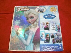 DISNEY FROZEN 7 WOODEN PUZZLES PACK IN WOODEN STORAGE BOX NEW FACTORY SEALED