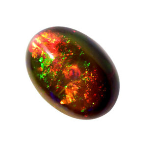 Ethiopian Black Opal Oval Shape 2.55 Cts Flashy Multi Fire Opal Cabochon Use For All Type Jewellery