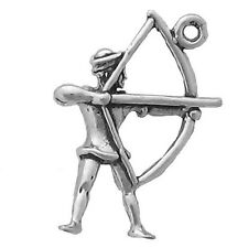 Archer Bow and Arrow Charm Sterling Silver Pendant Sports Archery