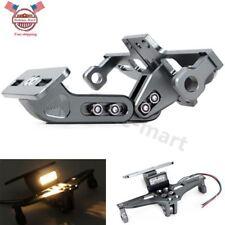 Mount Motorcycle Titanium License Plate Holder Tail Lights LED Bracket Universal