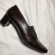 Paul Green Women's Shoe Leather Slip On Apron Buckle Block Heel US Sz 8.5