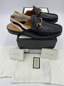 men's gucci horsebit slingback stripe Leather Sandals Size 10 Fits 11US