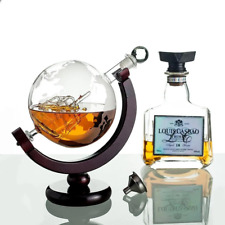 More details for glass decanter globe with ship world map wooden stand whisky rum wine spirit jug