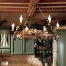 Lampadario ruota di carro in ferro battuto e legno rustico 6 luci modello uva