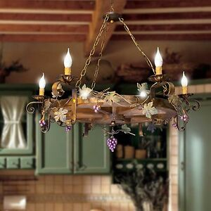 Chandelier Wheel Of Tank Wrought Iron and Wood Rustic 6 Lights Model Uva