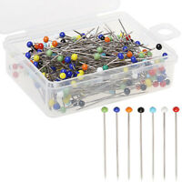 New 100pcs Glass Round Pearl Head Pins Multicolor Sewing Needles Pins DIY Crafts
