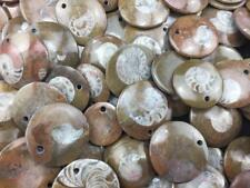 LOT OF 10 JEWELRY DRILLED AMMONITE FOSSIL PENDANT FROM MOROCCO