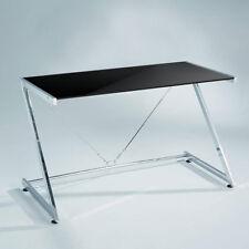 Schreibtisch Z-LINE Glastisch Tisch Computertisch Gestell-verchromt Schwarz