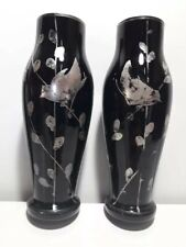 old Pair vases Black glass Hand-painted birds Silver (Canada)