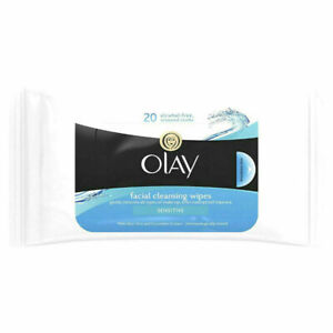 2 packs of 20 Olay Essentials Wet Cleansing Wipes Sensitive Skin. New