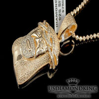 MENS MINI .75CT GENUINE REAL DIAMOND ROSE GOLD FINISH JESUS CROSS CHARM NECKLACE