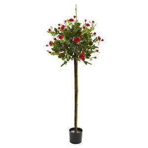 Rose Topiary Silk Tree Realistic Artificial Nearly Natural 3' Home Garden Decor